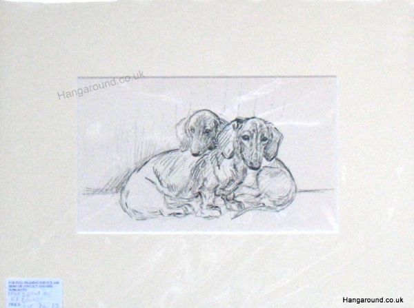 Two Smooth Haired Dachs - Dax B8 -  1940's print by K F Barker
